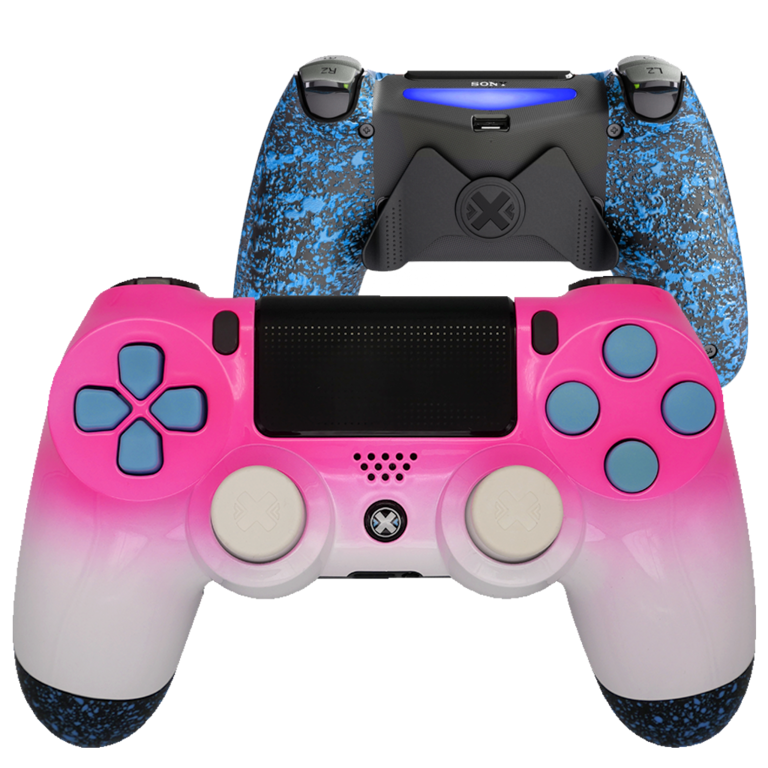 Mando Ps4 Bicolor Rosa-Blanco