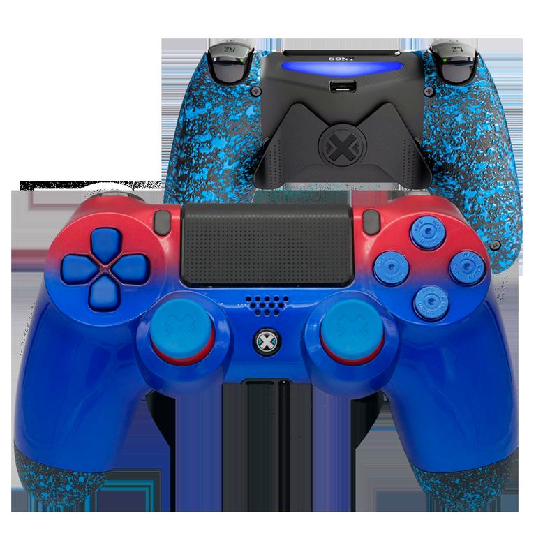 Mando Ps4 Bicolor Rojo-Azul